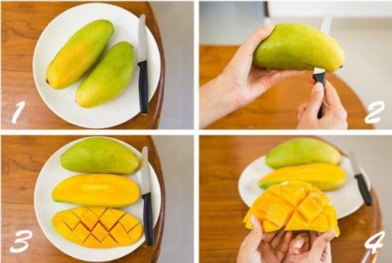 как нарезать манго ромбиками