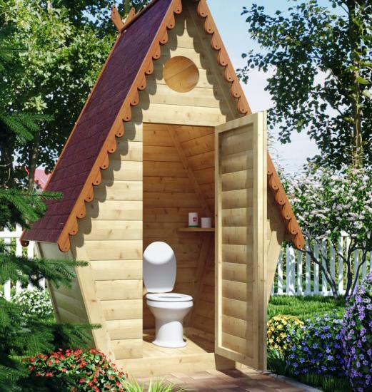 деревянный туалет на даче