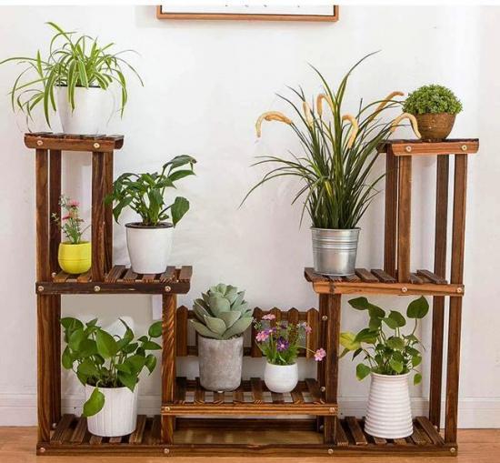 Напольная деревянная подставка для цветов