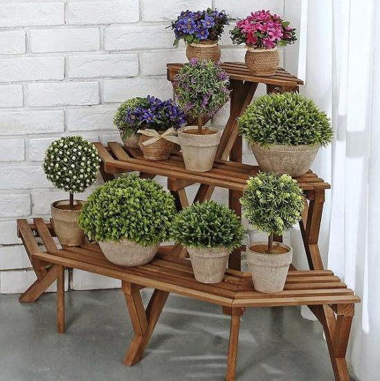 угловая подставка для цветов деревянная наполльная